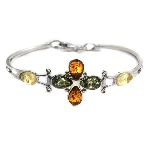 - Multicolor Amber Sterling Silver Flower Bracelet 7.5
