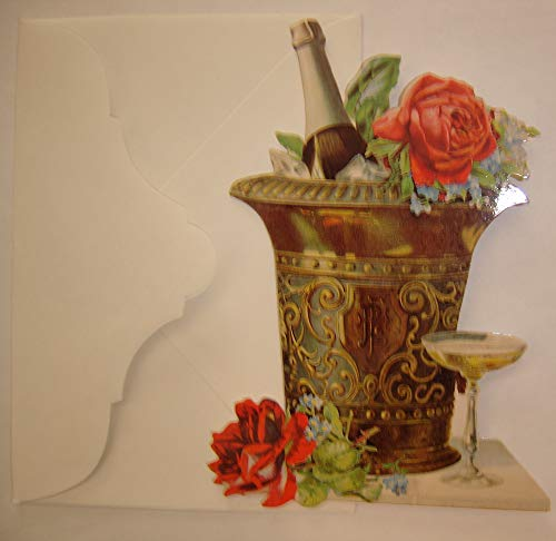 Victorian Charms Die Cut Note Cards: Roses & Champagne, Vintage Ice Bucket; Set of 4 - Bucket Champagne Roses