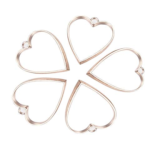 PandaHall 20 pcs Alloy Heart Shape Open Back Bezel Pendants with Loop for UV Resin Crafts Jewelry Making, Rose Gold