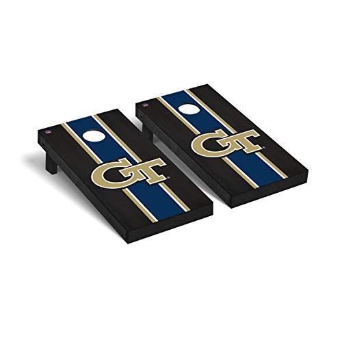 Georgia Tech GT Yellow Jackets Regulation Cornhole Game Set Onyx Stained Stripe Version