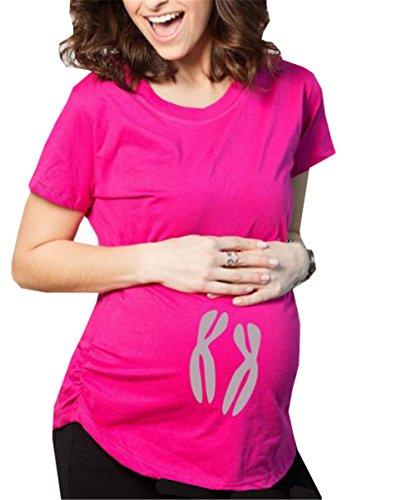 Casual Donna Red128 Shirt Top Moda Forti Aivosen Maternity T Maglietta Shirt Pregnancy Corta Taglie Morbidi Allentato Stampa Cotone T Comoda Manica Incinta w1Cxn17q