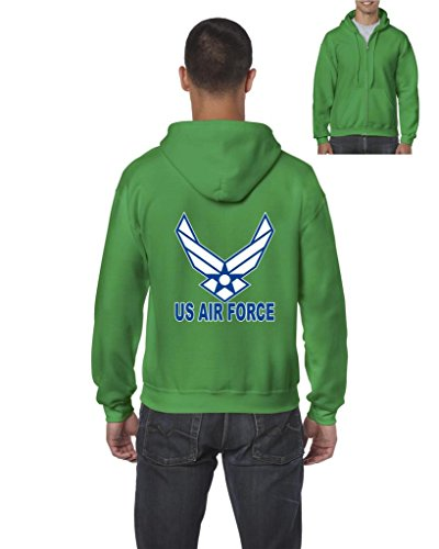 Artix US Air Force Blue American Fashion People Couples Gifts Best Friend Gifts Full-Zip Men's Hoodie Medium Irish Green