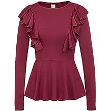 GRACE KARIN Women Ruffle Casual Peplum Top Shirt