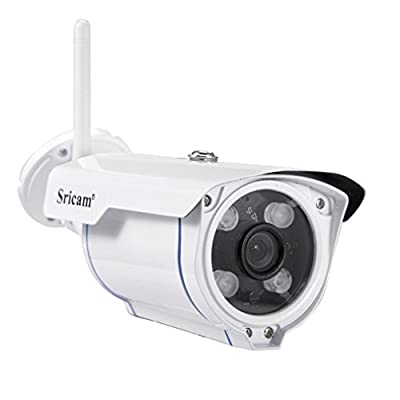 Sricam Wireless Sec Urity Outdoor, 720P Motion Detection Wifi Camera, Night Vision, IP 66 Weatherproof, 4x Digital Zoom, Microsd Recording Security, White from Sricam