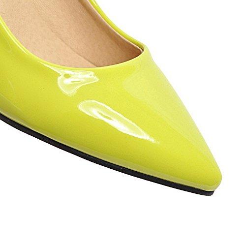 Fermeture Verni Correct Chaussures AllhqFashion Vert Talon Femme Légeres à d'orteil wfAnqvX