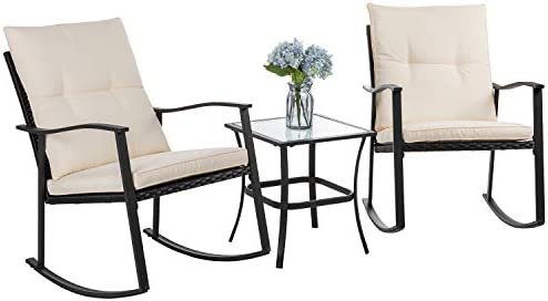 Vongrasig 3 Piece Outdoor Rocking Chair Set