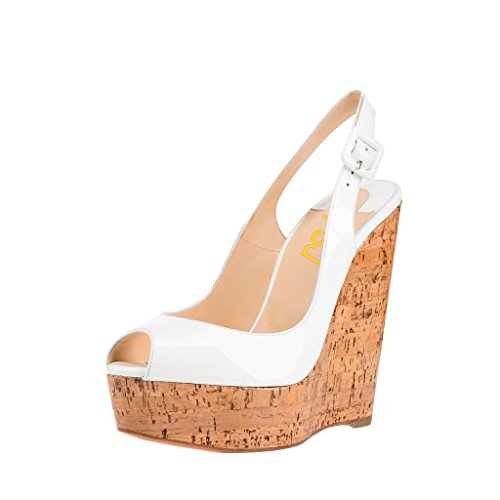 Chunky Cork Heels (FSJ Women Jelly Peep Toe Slingback Wedges Chunky Cork Heel Sandals With Ankle Strap Size 7 White)