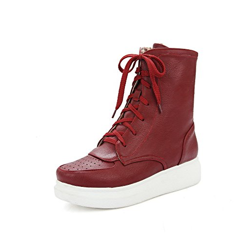 AgooLar Women's Round Closed Toe Low-top Low-Heels Solid PU Boots Red DtIpKyP