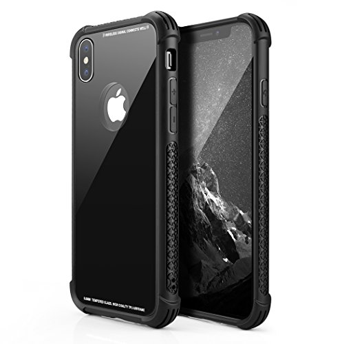 Besiva Phone Case Compatible iPhone X/XS, Tempered Glass Back Cover and Soft Silicone Rubber Bumper Frame Shock Absorption Anti-Scratch Support Wireless Charging Compatible Apple iPhone X/XS, Black