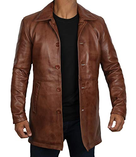Decrum Mens Car Coat - Lambskin Leather Jacket | [1500024] Super Tan, L