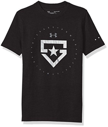 Under Armour Boys' Heater T-Shirt,Black (001)/Metallic Silver, Youth ()