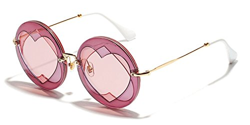 TIJN Women Retro Round Sunglasses with Upside-down Hearts - Upside Down Sunglasses