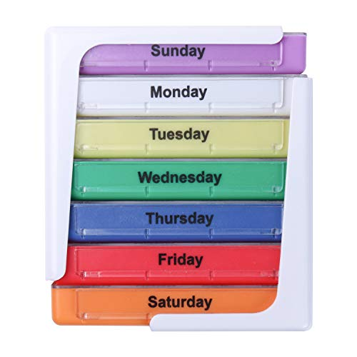 PuTwo Pill Box 7 Days Stackable Pill Organizer 4 Times a Day BPA Free Portable Weekly Medicine Organizer Large Capacity Pill Tower Travel for Vitamin Fish Oil Aspirin Supplements Medication - Rainbow - Tower Day