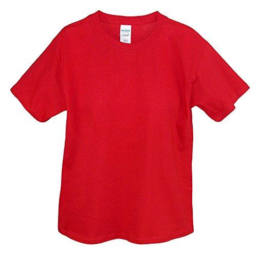 Gildan Big Boys' Heavyweight Taped Neck Comfort T-Shirt, Red, Small
