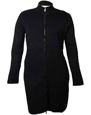 Calvin Klein Women's Textured Full-Zip Sweater Dress