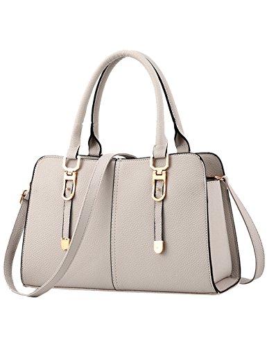 CUKKE Damen PU Handtaschen Damen Handtasche Schwarz Handtasche Schule Damen Handtaschen Schwarz Grau QM2kj