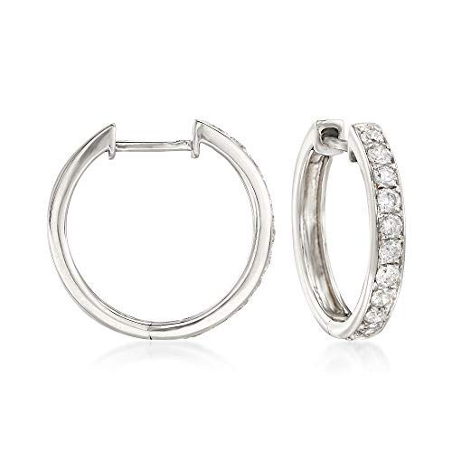 Ross-Simons 0.50 ct. t.w. Diamond Hoop Earrings in 14kt White Gold ()