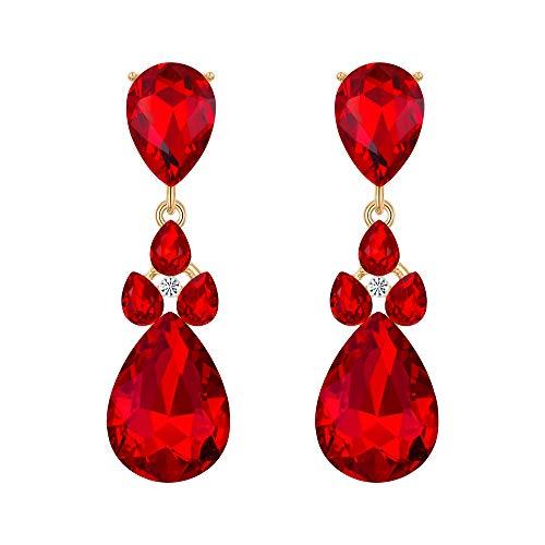 Flyonce Women's Austrian Crystal Wedding Bridal Charm Teardrop Pierced Dangle Earrings Red Gold-Tone ()