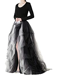 Women's Long Tutu Tulle Skirt A Line Floor Gradient Black and White Length Special Occasion Night Out fold Skirt