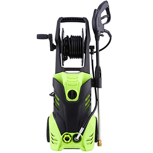 Tagorine Pressure Washer, 3000PSI Power Washer, Electric Pressure Washer,High Pressure Washer Cleaner Machine with Hose Reel, 5 Nozzles,1800W Rolling Wheels (Hose 2 Reel Wheel)