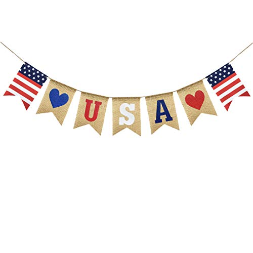 Uniwish USA Banner Burlap Bunting 4th of July Decorations American Independence Day Celebration Red White and Blue Theme Party Supplies ()