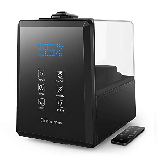 Elechomes UC5501 Ultrasonic Humidifier 6L Vaporizer Warm and Cool Mist for Large Room Baby Bedroom with Remote, Customized Humidity, LED Touch Display, Sleep Mode, 12-40 Hours, 550ml/h Max Humidity (Best Whole Room Humidifier)