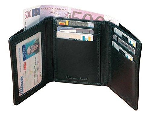 Winn International Cowhide Napa Leather Tri-Fold Wallet in Black Winn Slim Wallet