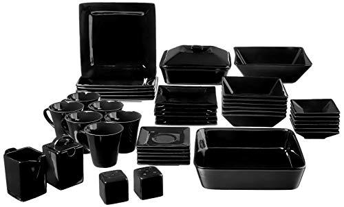 10 Strawberry Street NOVA-45SQ-BB Square 45 Piece Dinnerware Set, Black