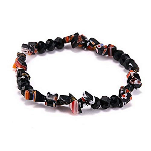 Mikash Chic Women Lampwork Glass Beads Stretch Elastic Bracelet Party Christmas Jewelry | Model BRCLT - 12070 | (Crown Safety Track)