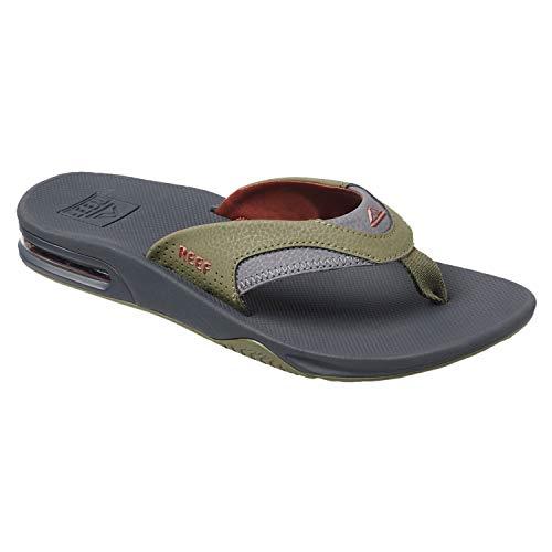 Reef Sandals Fanning  Bottle Opener Flip Flops for Men, Olive/Rust, 100 M US