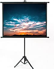 VIVO 50 inch Mini Portable Indoor Outdoor Projector Screen, 50 inch Diagonal Projection, HD 4:3 Projection Pull Up Foldable Stand Tripod (PS-T-050B)