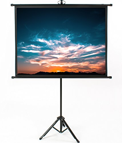 VIVO 50 inch Mini Portable Indoor Outdoor Projector Screen, 50 inch Diagonal Projection | HD 4:3 Projection Pull Up Foldable Stand Tripod (PS-T-050B)