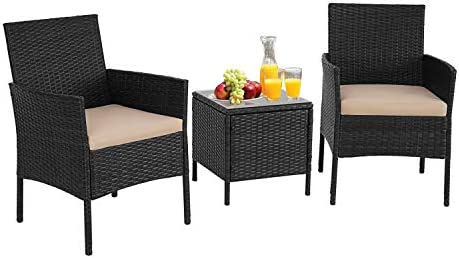 Cemeon 3-Piece Patio Bistro Set Outdoor Furniture Set Black Wicker