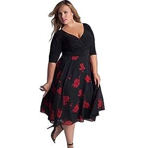 Vestido mujer de talla grande ❤️ Amlaiworld Vestido Boho de fiesta de noche de mujer Vestido de playa señoras Vestido maxi floral con cuello en V para mujer tallas grandes (rojo, 3XL)