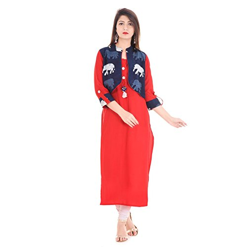Stylum Red And Navy Blue Festive Party Kantha Work Jacket Style