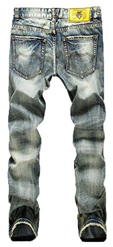 Chomay Herren Chino Jeanshose Bikerjeans Denim Hose Jeans Verwaschen Bleached Gerade Bein Zerrissen Destroyed Usedlook 953