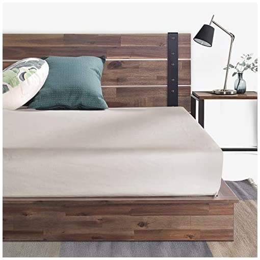 Bedroom ZINUS Brock Metal and Wood Platform Bed Frame / Solid Acacia Wood Mattress Foundation / No Box Spring Needed / Easy… farmhouse beds and bed frames