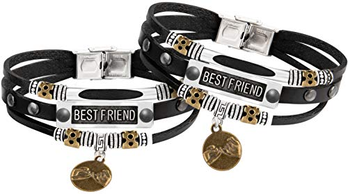 Sun Life Style Best Friends Bracelets for 2 - Braided with Metal Tag - Inspirational Jewelry for Boys, Girls, Men, Women (Best Friend 3)