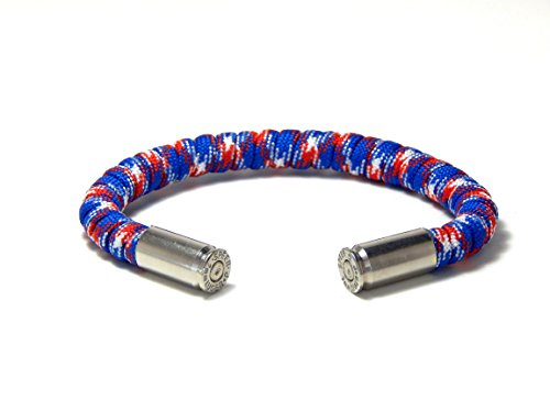 Bullet Bracelet Red White Blue Paracord 9 mm Nickel Casing Large
