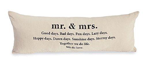 "Mr. & Mrs. Definition Pillow, 12"" x 34""."