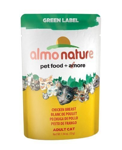 Almo Nature Green Label Chicken Breast Cat Food 1 Case – 24 Pouches (55g/ea)