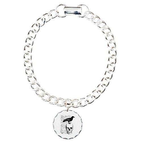 CafePress - Vintage Raven & Skull - Charm Bracelet with Round Pendant (Skull Ravens Bracelet)
