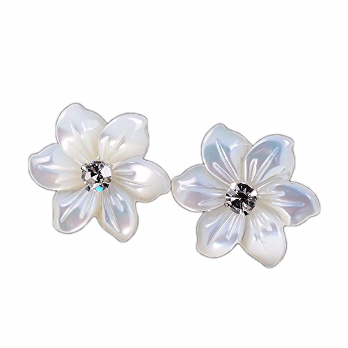 Justinstones Korean fashion 925 Silver Mother of Pearl MOP shell flower studs earrings 12mm ()