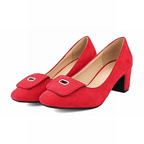 MissSaSa Damen klassisch Chunky heel vierkant Spitze Low-cut Nubuck Pumps mit Blockabsatz Rot
