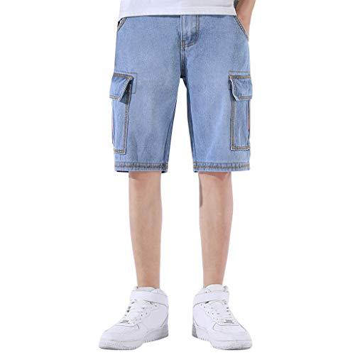- Fitfulvan Men's Imitation Denim Shorts Pure Color Loose Casual Five-Pants with Pocket Tooling Pants