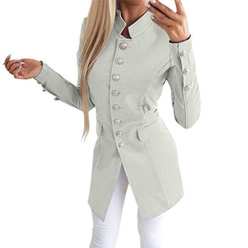 Vestito Donna Bavero Pulsante Inverno Cappotto Manica A Ufficio Signora  Giacca Semplice Cerimonia Lunga Amuster Elegante Autunno Grigio Fashion Moda  ... abd65ee4583