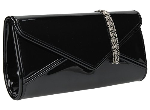 Perry Envelope Style Patent Leather Clutch Bag Evening Purse Black