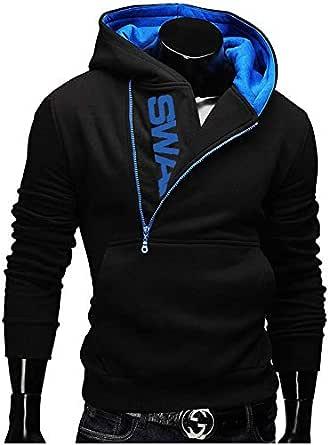 Fashion LOGO head side zipper hooded sweater large size men's sweater coat men's clothing L