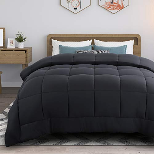 RYONGII All-Season Down Comforter Twin Grey Size Reversible Alternative Quilted Hypoallergenic Hotel Plush Microfiber Fill Insert Angle Label Warm Fluffy Machine Washable 64 x 88 Inches