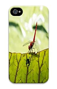 iPhone 4s Case and Cover - Red Dragonfly Custom PC Hard Case Cover for iPhone 4/4S 3D